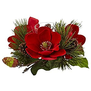 "Nearly Natural Magnolia & Pine Candelabrum, Red,12"" x 7.5"" x 12"""