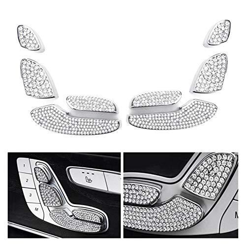 Reunion Cubierta decorativa para interruptor de control de asiento de cristal brillante plateado para Mercedes Benz C E GLC W205 W213 X205 2015+ (nombre del color: plata)