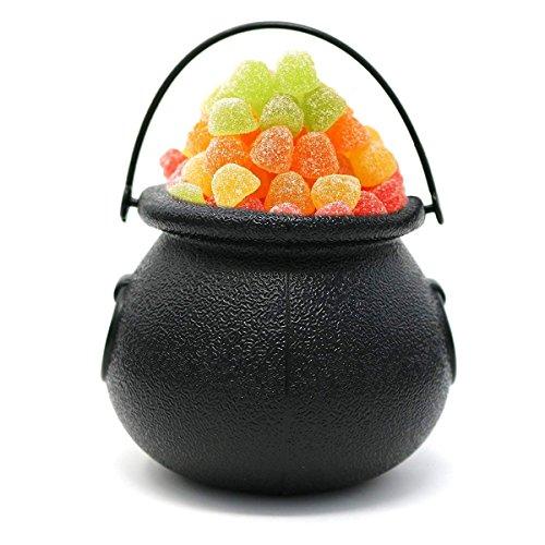 TiaoBug 12Pcs Mini Dulces Caldero Portátil de Bruja y Cráneo para Halloween Hervidor Recipiente de Caramelo Golosina para Candy Bar Fiesta Carnaval Negro 7x5 cm