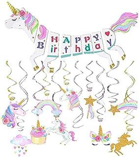 Unicorn Party Decoration Supplies-Unicorn Happy Birthday Banner-30ct Unicorn Hanging Swirl-Unicorn Party Supplies