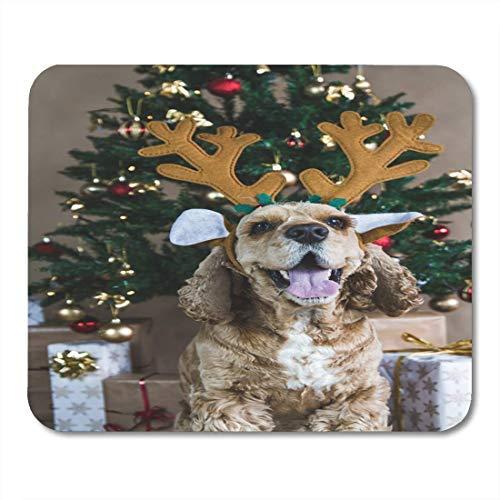 Mauspads Brown American Cocer Spaniel posiert in der Nähe von Weihnachtsbaum Mauspad für Notebooks, Desktop-Computer Matten Büromaterial