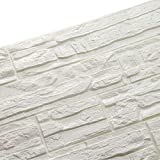 WANWEITONG 3D Papel Pintado ladrillo, PE de Espuma 3D Wallpaper, DIY Pared Pegatinas Decoración de Pared en Relieve Piedra de ladrillo Para Casa Oficina Sala de Estar TV Fondo Pared (12 Pcs, Blanco)