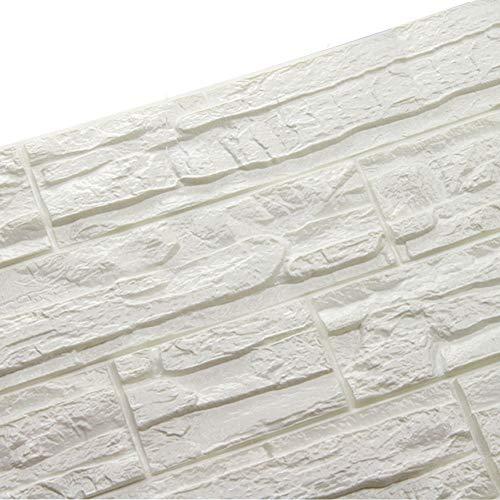 WANWEITONG Carta da Parati Mattoni 3D, Staccabile DIY Carta da Parati Decorativa Autoadesiva Impermeabile per Cucina Ufficio TV Sfondo (12 Pcs, Bianca)