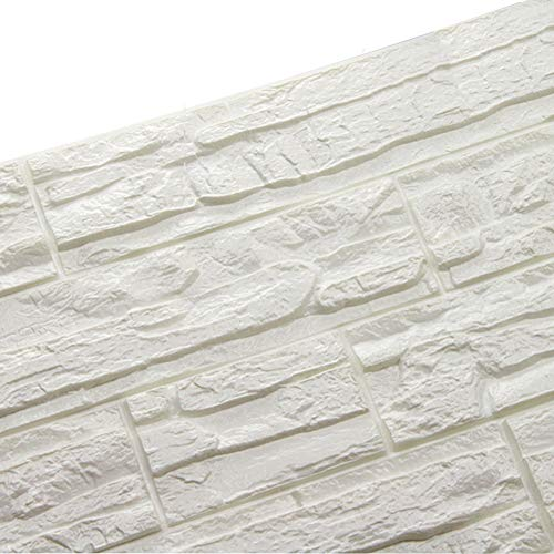 PE 3D Foam Brick Wallpaper, WANWEITONG DIY Self Adhesive 3D Wall Stickers Wallpaper Embossed Brick Ceramic Tile Stone Wall Panels for Living Room Home Office Décor (12 Pcs, White)