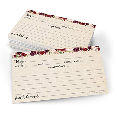 321Done Recipe Cards (Set of 50) Small Floral 3