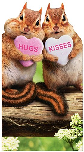 Chipmunk Hearts Cute Little Big Funny Die Cut Valentine's Day Card