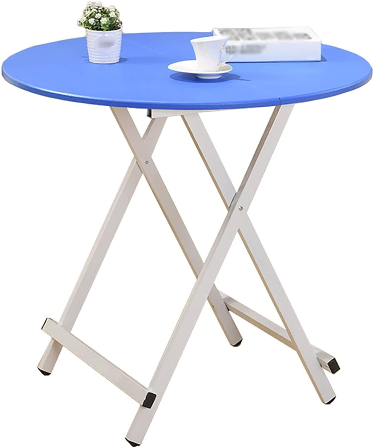 LXF Folding Table Folding Table Round Leisure Mahjong Table Save Space Modern Minimalist Style (color   bluee, Size   60 cm in Diameter)