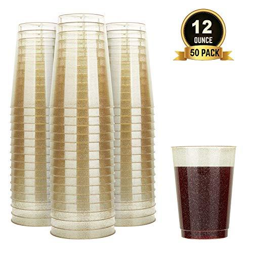 TOROTON 50 Stück Plastik Becher mit Glitzer, 350ml Wiederverwendbare und recycelbare Weinbecher, für Grillen Picknicks Camping Hochzeit Geburtstage - Gold