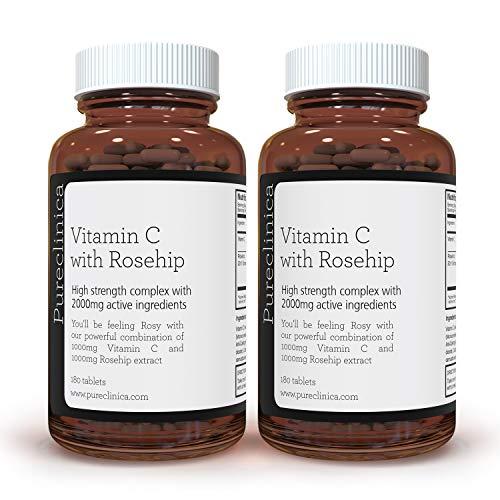 VITAMIN C mit HAGEBUTTE - 2000 mg (1000 mg Vit C & 1000 mg Hagebutten-Extrakt) 360 TABLETTEN - 12 MONATE VORRAT! Artikelnummer: ROSEC3x2