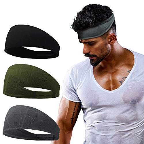 Linlook Sport Stirnband für Herren und Damen - Schweißband Anti Rutsch für Jogging, Laufen, Wandern, Fahrrad- und Motorrad Fahren 3 Pack… (Farbe 7)