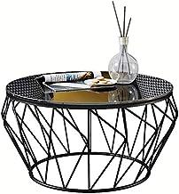 Living Room Table Furniture Living Room Coffee Table Modern Side Table - Round Black Glass Desktop and Metal Frame,Black,6...