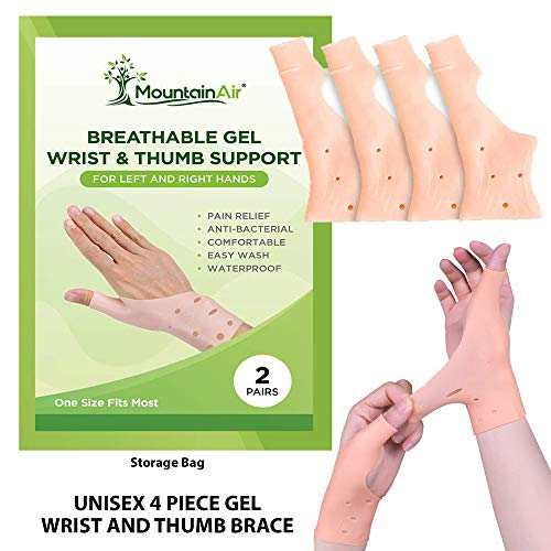 Gel Wrist and Thumb Brace - 2 Pairs  Unisex Wrist Splint to Fit Left or Right Hand  Wrist Support for Arthritis, Rheumatism, Carpal Tunnel Pain Relief  Flexible Silicone Thumb Brace