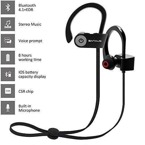 Banaus  P2 - Auricolari sportivi Bluetooth senza fili per iPhone 6, 6S, 7, 7E e per telefoni Android