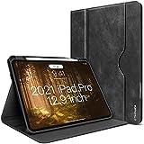 iPad Pro 12.9 Hülle 2021/2020/2018 5./4./3.Generation Hülle mit Stifthalter PU Leder Portfolio [Automatischem Schlaf/Aufwach] [Elastikband][Unterstützung für drahtloses Aufladen]