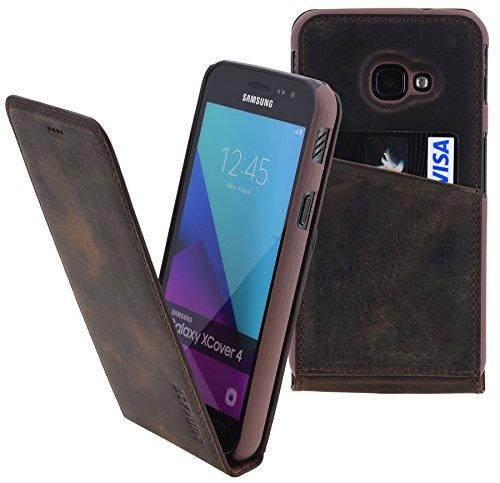 Suncase Original Flip-Style kompatibel Samsung Galaxy Xcover 4s Lederhülle Ledertasche Tasche Schutzhülle Hülle Cover Hülle in antik braun