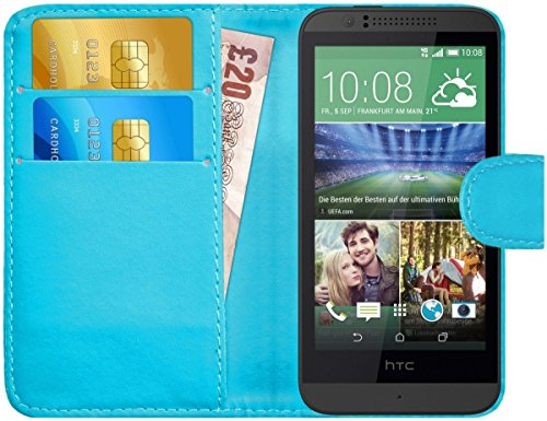 G-Shield Hülle für HTC Desire 510 Klapphülle mit Kartenfach - Hellblau