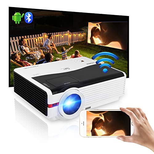 6000 Lumen HD Outdoor Bluetooth Wifi Projector LED LCD Home Cinema Theater Proyector WXGA Video Gaming Projector Zoom Screen Sync Android iOS Smart Phone with HDMI USB VGA AV for DVD Laptop Tablet PS4