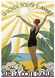 Poster, Motiv: Cote D'Azur, Vintage-Stil, 42 x 59,4 cm
