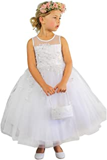 ac4f42e51f1 Big Girls Ivory Illusion Neckline Floral Lace Adorned Flower Girl Dress 8-12