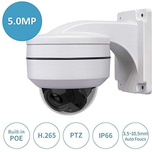 Poe PTZ Kamera w/Wandhalterung, LEFTEK Ultra HD 5,0 MP (2592x1944 Pixel) Mini PTZ-Kamera 3X Zoom w/Vollmetall Halterung Outdoor Indoor Ständer