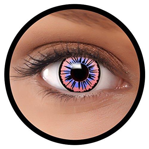 Farbige Kontaktlinsen lila Fee + Behälter, weich, ohne Stärke in als 2er Pack (1 Paar)- angenehm zu tragen und perfekt für Halloween, Karneval, Fasching oder Fastnacht Kostüm