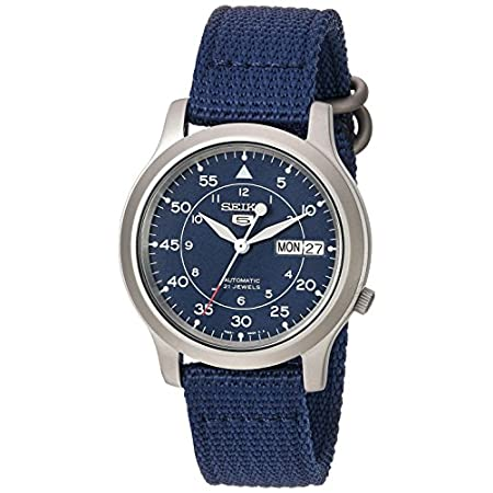 Fashion Shopping Seiko Men's SNK807 Seiko 5 Automatic Stainless Steel Watch with Blue Canvas Band