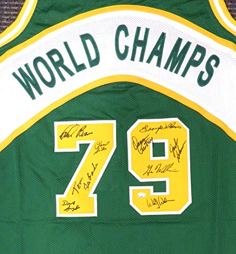 1978-79 NBA Champions Seattle Supersonics Multi Signed Autographed Green Jersey With 9 Signatures Including Fred Brown & Lenny Wilkens MCS Holo