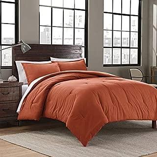 Garment Washed Solid King Comforter Set Includes Comforter Pillow Shams (Burnt Orange)
