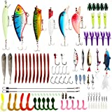 10 Years Refund-2021 Newest Technology Fishing Lures Kit Super Big Fishing Baits Optimal Effect 100 Set,Spinnerbaits,Plastic Worms, Fishing Gear Lures,Salt Water Fishing Lure Tackle,Topwater Lure