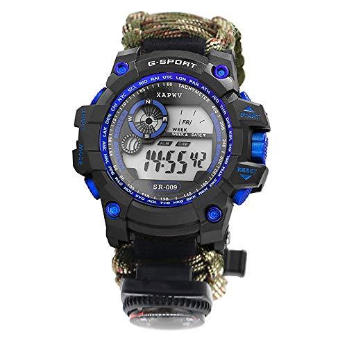 Lixada Überlebensuhr Wasserdicht 6 in 1 Multifunktionale Survival Bracelet Watch mit Paracord/Pfeife/Feuerstarter/Schaber/Kompass und Thermometer
