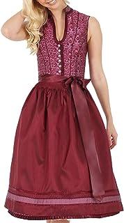 Krüger Collection Dirndl Sabrina 17967 - Bordeaux Rot - Edles Trachtenkleid zu Oktoberfest, Kirchweih, Hochzeit und festlichen Anlässen