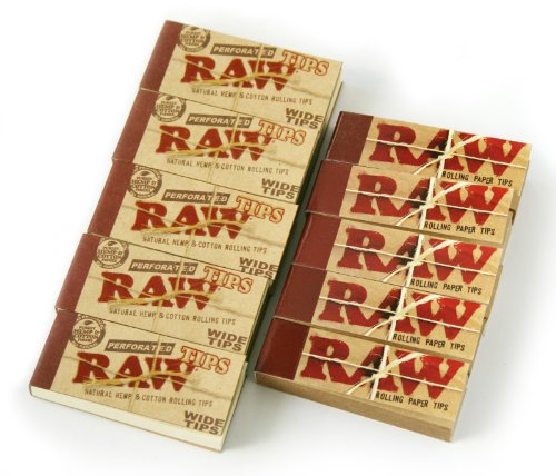 RAW Filter Tips 5 regular +5 wide = total 500 tips CHEMICAL FREE