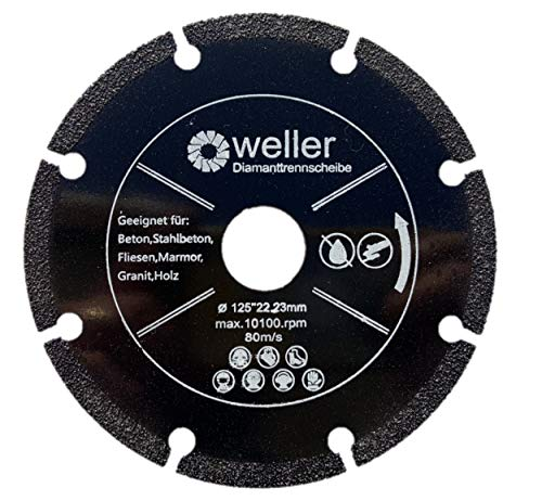 Diamant Trennscheibe, 125mm, Allround Sägeblatt, extra dünn, für Fliesen Granit Marmor Stahlbeton Holz Keramik Carbon GFK Aluminium für Winkelschleifer 125x22,23mm 80m/s
