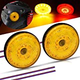 2pcs Universal Motorcycle Brake LED Lights 2.3inch Round Double Colors Amebr/Red External Turn Signal LED Lamps Waterproof IP67 for Motorbike,Truck,ATV,Van,Liner,Tractor.