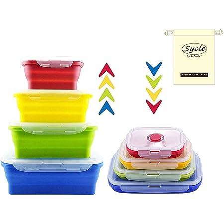 4 Pcs Récipients Alimentaires en Silicone Ensemble de Boîtes de Rangement Déjeuner Bento Box Sans BPA Passe au Micro-ondes Lave-vaisselle et Frigo (Rectangulaires, 4 Pack)