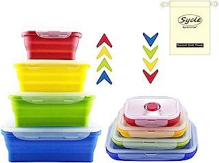 4 Pcs Récipients Alimentaires en Silicone Ensemble de Boîtes de Rangement Déjeuner Bento Box Sans BPA Passe au Micro-ondes...