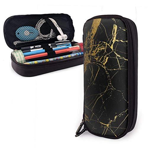 Schwarz und Gold Marmorfliesen Leder Federmäppchen Große Kapazität Bleistiftbeutel Große Stifthalter Schminktasche Doppelte Reißverschlüsse