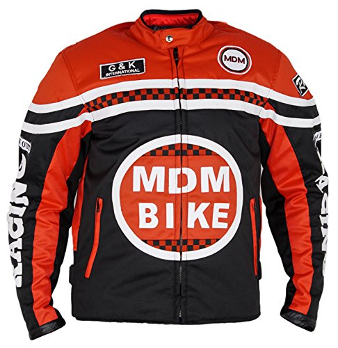 MDM Textil Motorradjacke (4XL, Schwarz/rot)