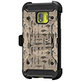 TurtleArmor | Compatible with Samsung Galaxy J2 Core Case | J2 Dash | J2 Pure [Armor Pro] Full Body Armor Hybrid Kickstand Holster Belt Clip Case Girl Designs - Fishing Hooks