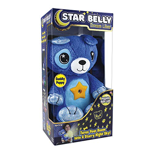 Ontel Star Belly Dream Lites, Stuffed Animal Night Light, Cuddly Blue Puppy