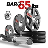 XMark Olympic Bar Curl Bar with Weights Offer, Olympic Weights 65 lb Set of Texas Star Olympic...