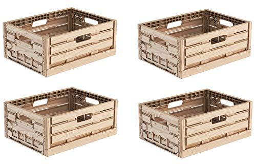 4x Faltbox im Holzdesign 40x30x16 * Klappbox für Obst, Gemüse * Obstkiste Gemüsekiste Holz Optik