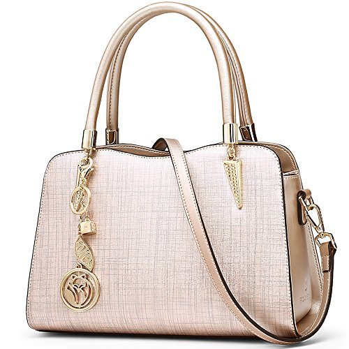 Leather Handbags for Women, Genuine Leather Ladies Fashion Top-handle Bags with Adjustable Shoulder Strap Women's Casual Messenger Bags Womens Medium Totes Crossbody Satchel Purses and Handbags (Gold)