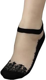 Mejor Venta Calcetines Ultrafinos Transparentes Cristalino Encaje EláStico Calcetines Cortos Color Puro 1 Pares