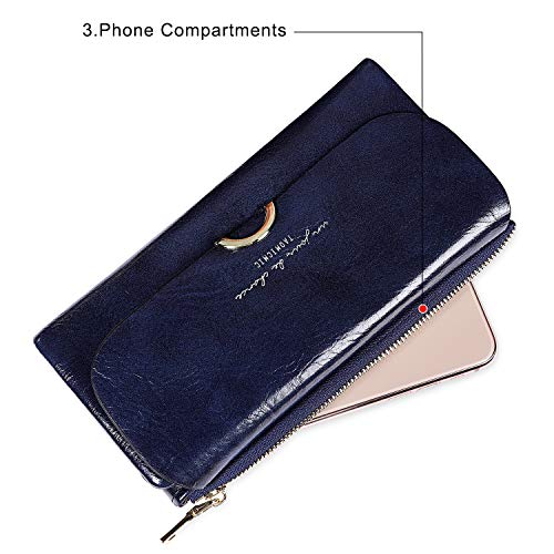 S-ZONE Ladies Purse PU Leather Wallet for Women with Multiple Card Slots and Card Holders Phone Zipper Pocket Zipper Coin Purse