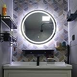 Espejo de baño 70x70 cm LED HD Montado en la Pared Espejo de Maquillaje Redondo con Interruptor táctil Controlador Regulable (luz Blanca/luz cálida)