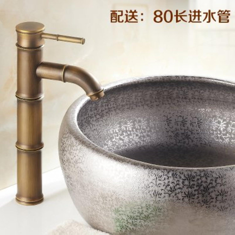 Retro Deluxe Faucetinging voll Antik Kupfer retro Bambus Waschtisch Armaturen Kunst Becken über dem warmen und kalten Wasserhahn neue, Gelb
