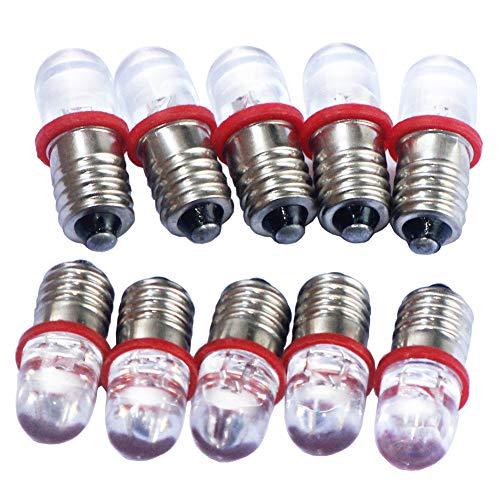 GutReise 10 x E10 DC 6 V röd spotlight LED-lampor glödlampor + 10 st E10 lampsockel bas