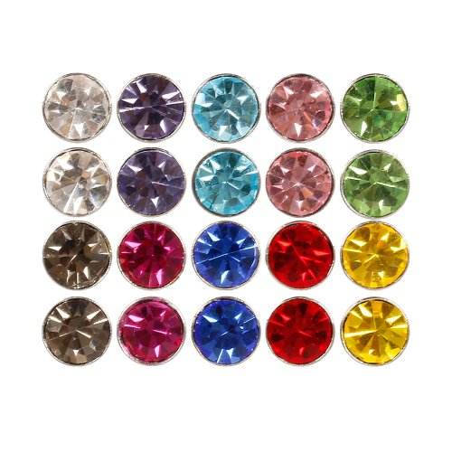 BMC 10pc Multicolor Sparkling Fashion Crystal Round Magnetic Clip On 5mm...