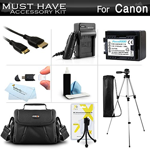 Must Have Accessory Kit For Canon VIXIA HF R800, HF R82, HF R80, HF R62, HF R60, HF R600, VIXIA HF R700, HF R72, HF R70 Digital Camcorder Includes Replacement BP-718 Battery, Charger, Case, More